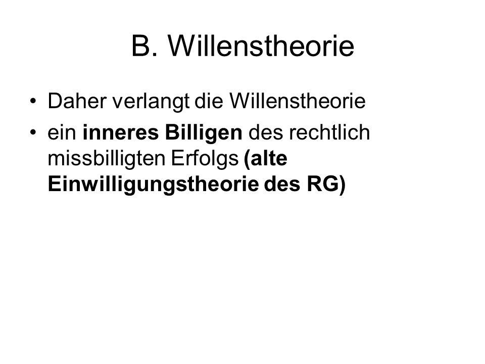 B. Willenstheorie Daher verlangt die Willenstheorie