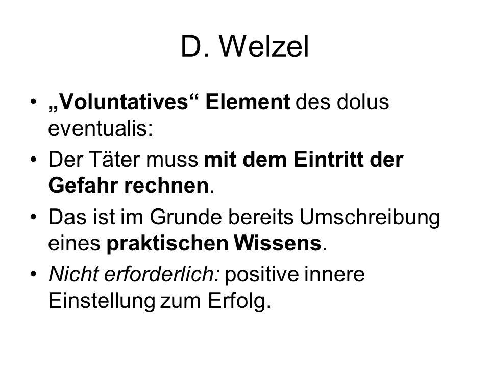 """D. Welzel """"Voluntatives Element des dolus eventualis:"""