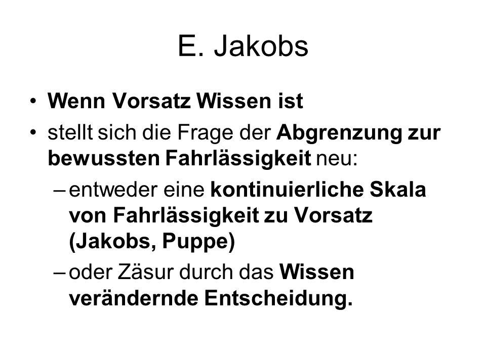 E. Jakobs Wenn Vorsatz Wissen ist