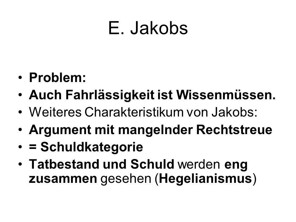 E. Jakobs Problem: Auch Fahrlässigkeit ist Wissenmüssen.