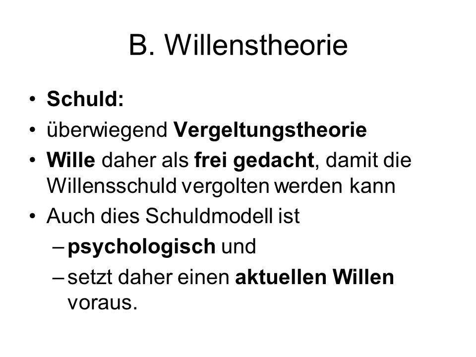B. Willenstheorie Schuld: überwiegend Vergeltungstheorie