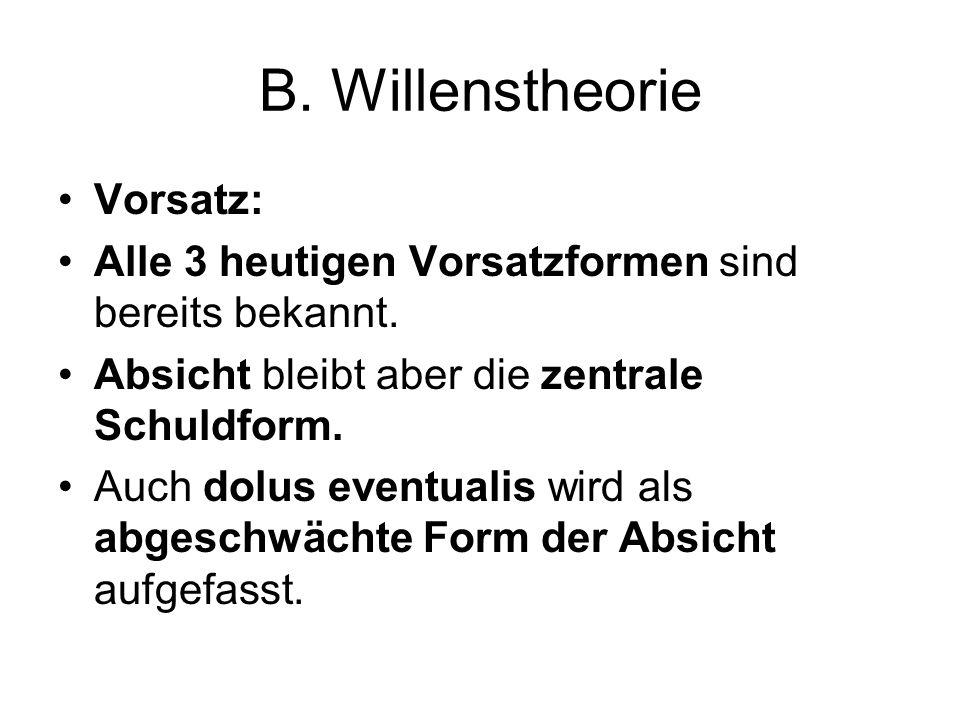 B. Willenstheorie Vorsatz: