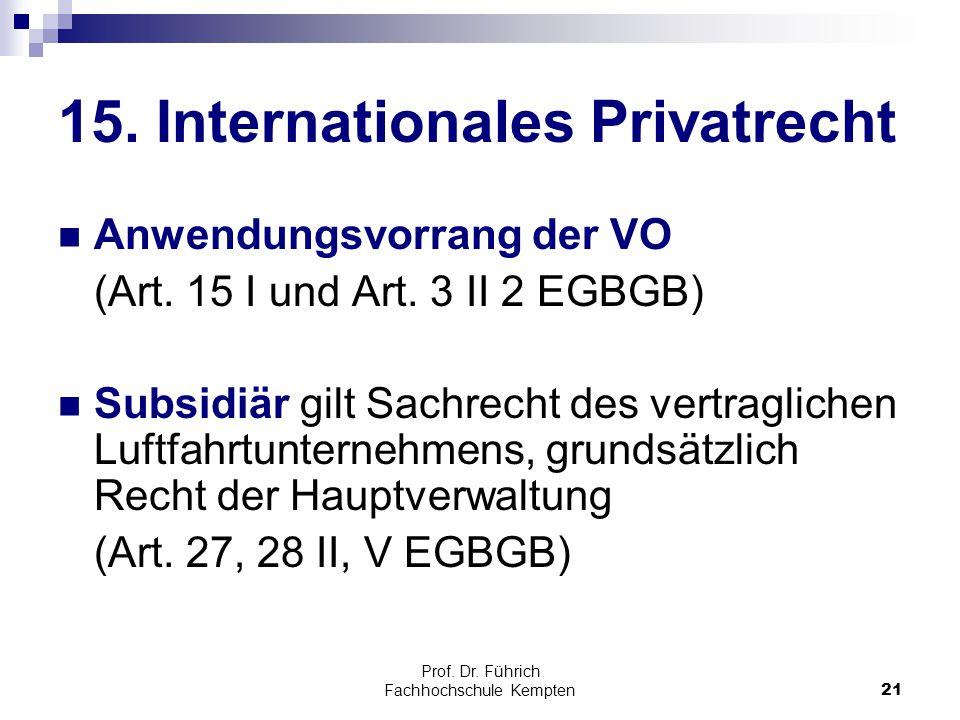 15. Internationales Privatrecht