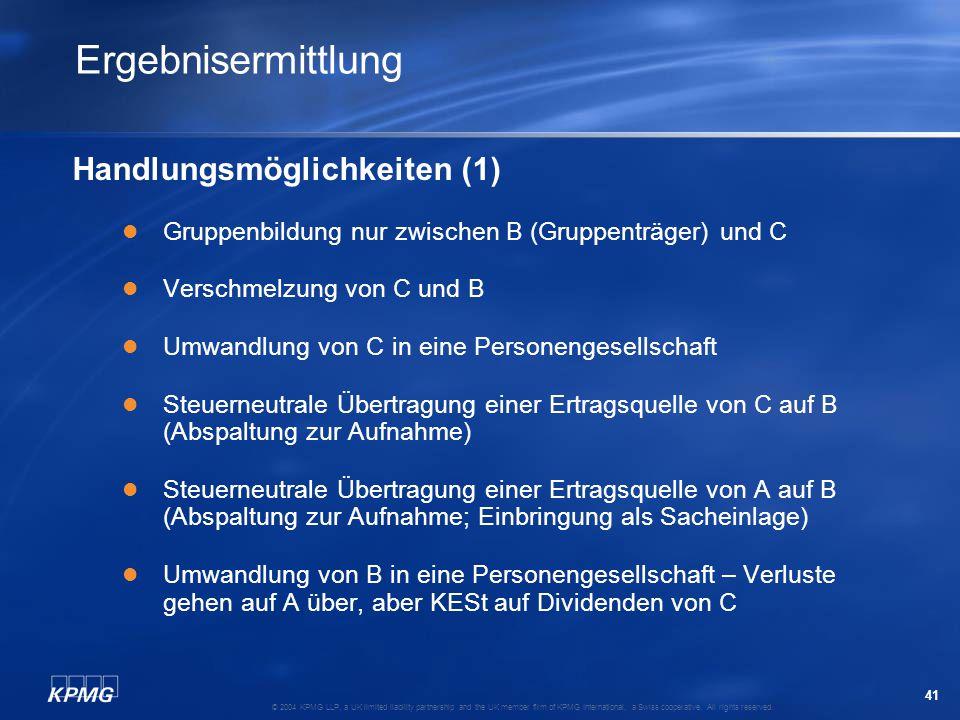 Ergebnisermittlung Handlungsmöglichkeiten (1)