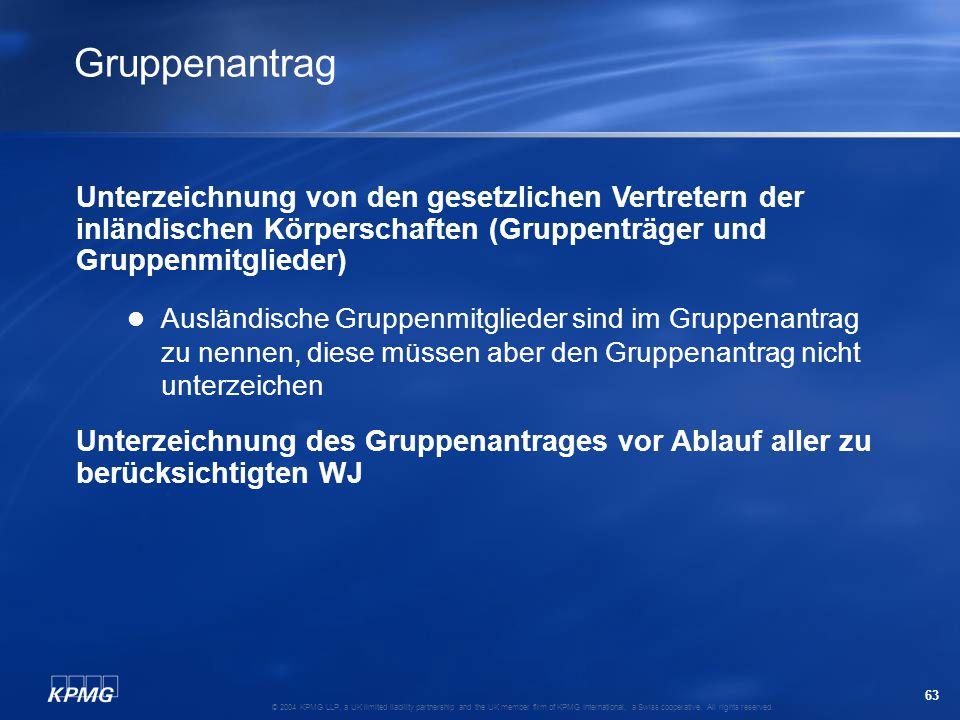 Gruppenantrag Unterzeichnung von den gesetzlichen Vertretern der inländischen Körperschaften (Gruppenträger und Gruppenmitglieder)