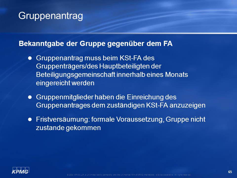 Gruppenantrag Bekanntgabe der Gruppe gegenüber dem FA