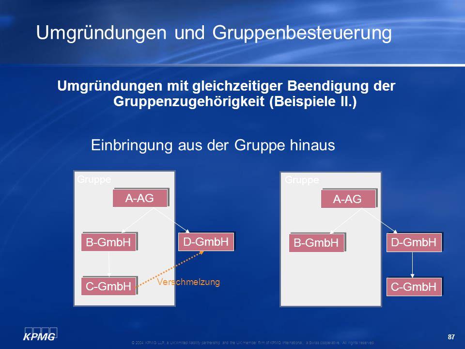 Umgründungen und Gruppenbesteuerung