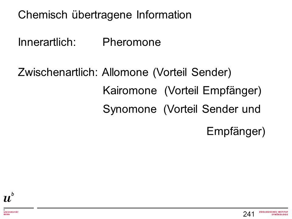 Chemisch übertragene Information Innerartlich: Pheromone