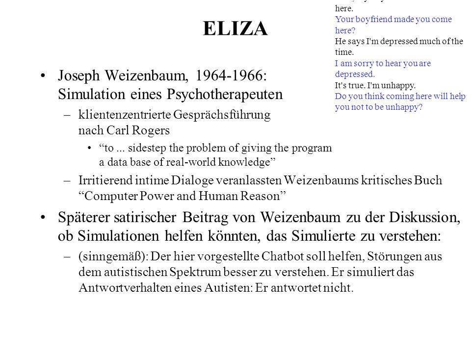 ELIZA Joseph Weizenbaum, 1964-1966: Simulation eines Psychotherapeuten