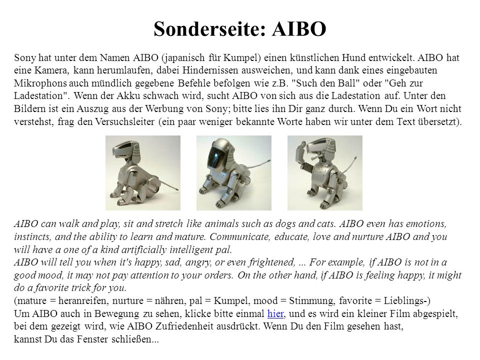 Sonderseite: AIBO