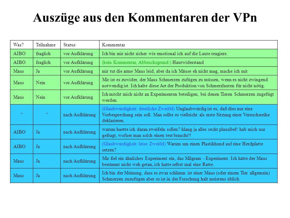 Auszüge aus den Kommentaren der VPn