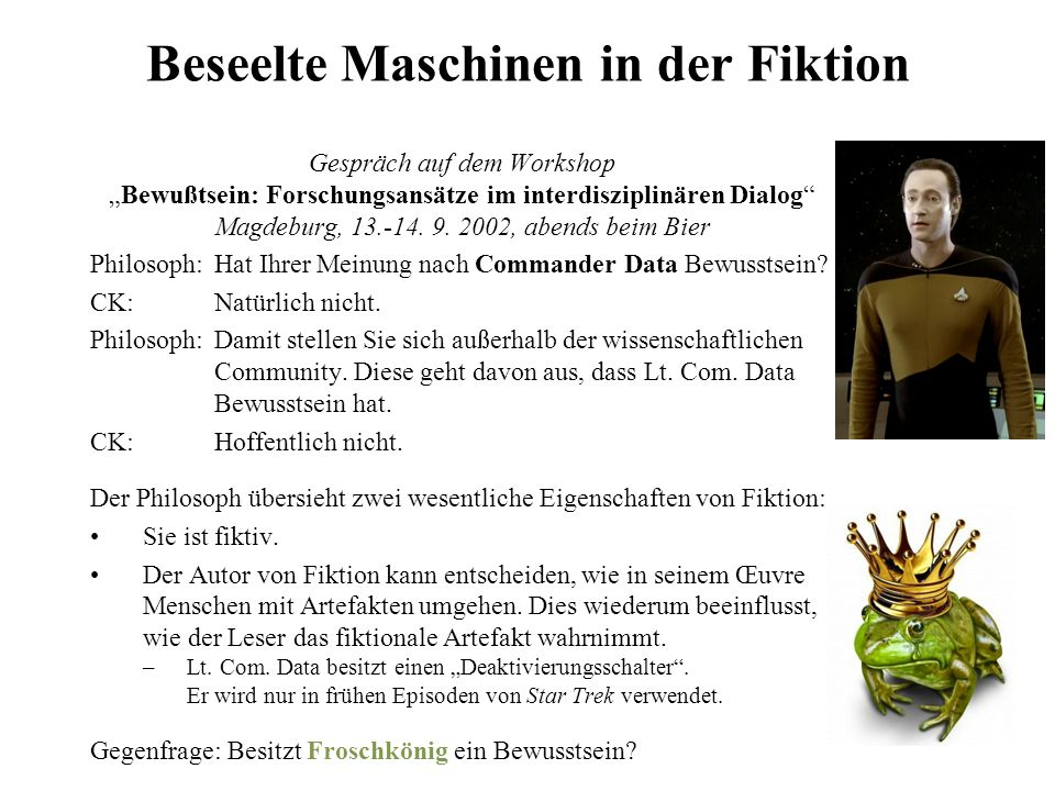 Beseelte Maschinen in der Fiktion
