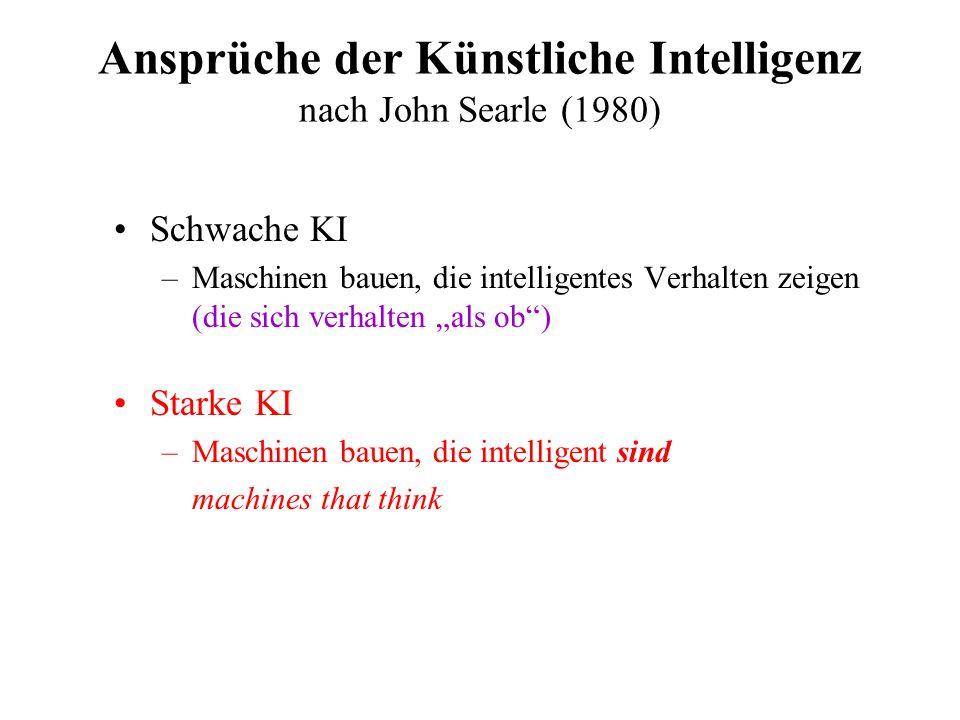 Ansprüche der Künstliche Intelligenz nach John Searle (1980)