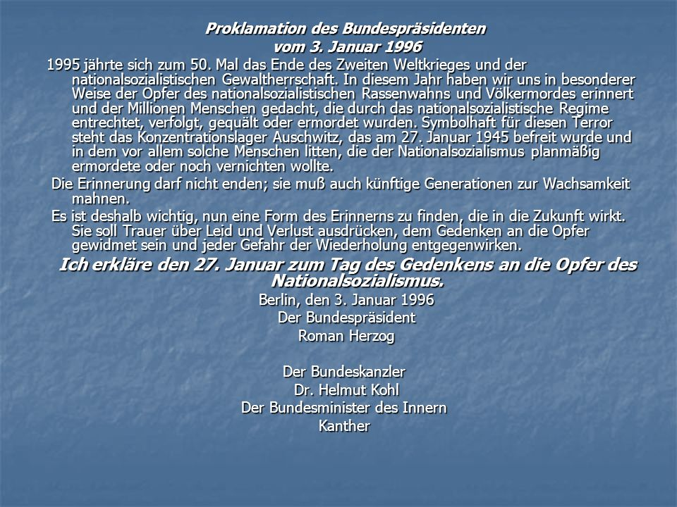 Proklamation des Bundespräsidenten