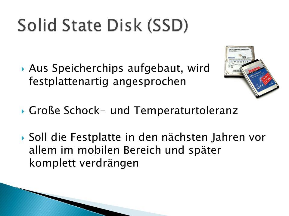 Solid State Disk (SSD) Aus Speicherchips aufgebaut, wird festplattenartig angesprochen. Große Schock- und Temperaturtoleranz.