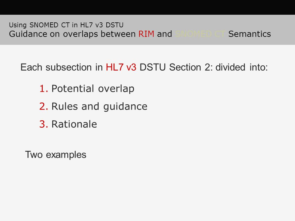 Each subsection in HL7 v3 DSTU Section 2: divided into: