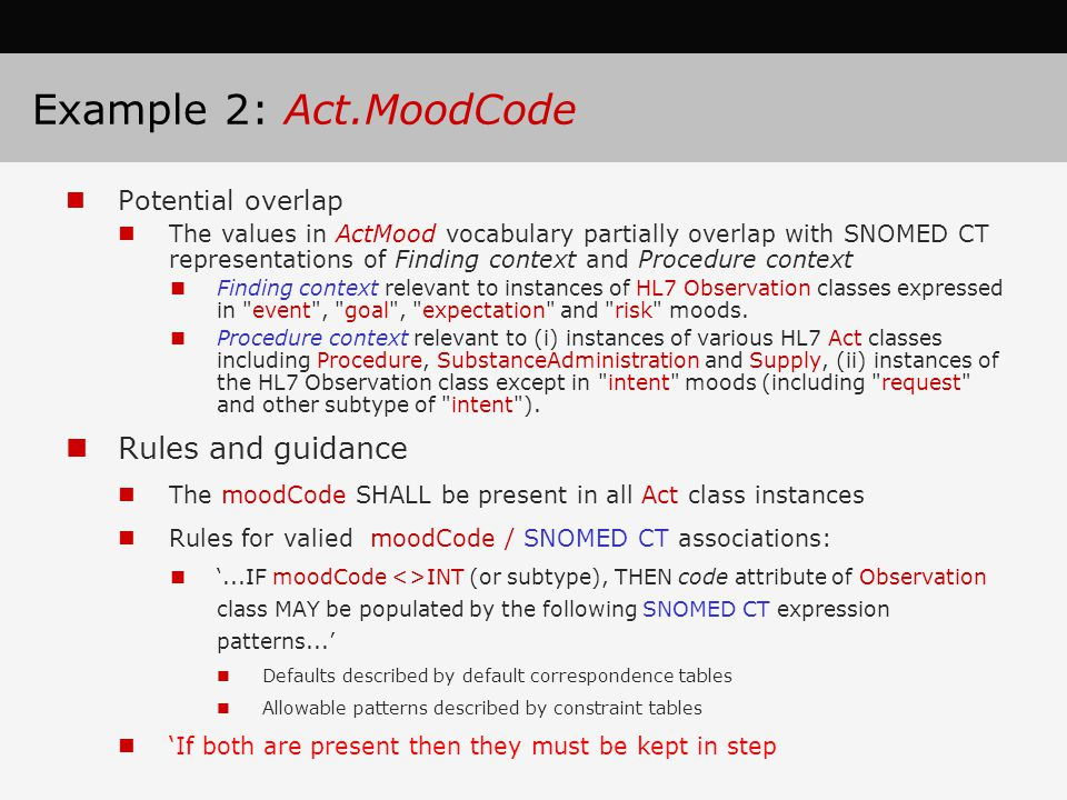 Example 2: Act.MoodCode Rules and guidance Potential overlap