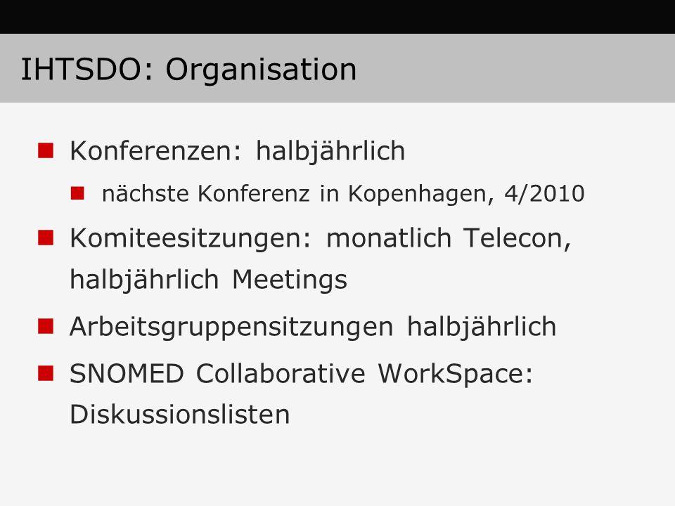 IHTSDO: Organisation Konferenzen: halbjährlich