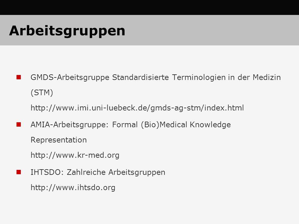 Arbeitsgruppen GMDS-Arbeitsgruppe Standardisierte Terminologien in der Medizin (STM) http://www.imi.uni-luebeck.de/gmds-ag-stm/index.html.