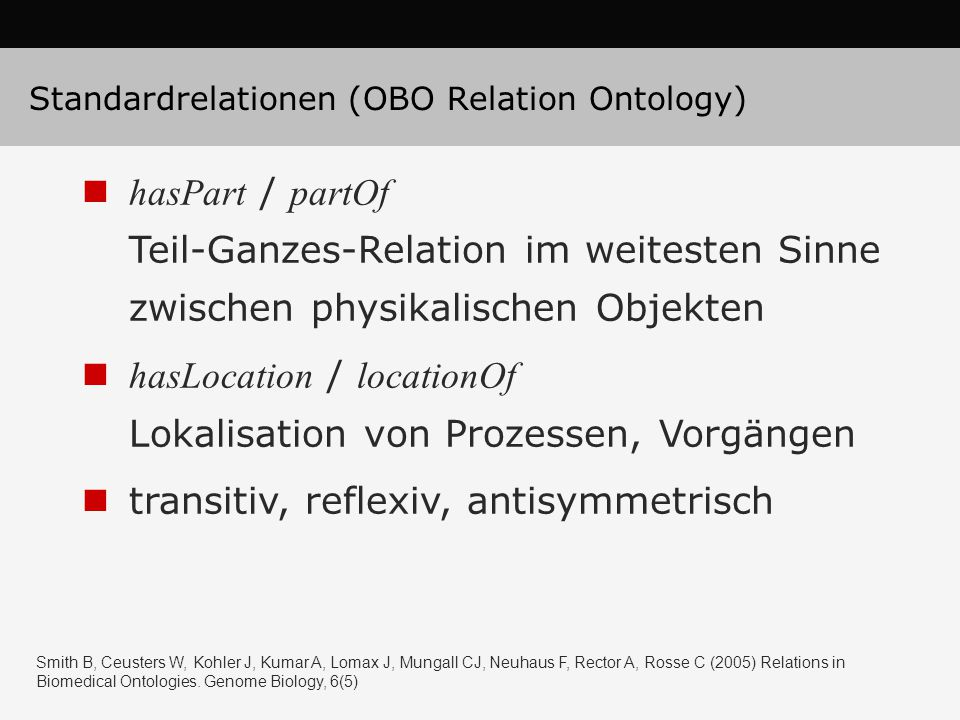 Standardrelationen (OBO Relation Ontology)