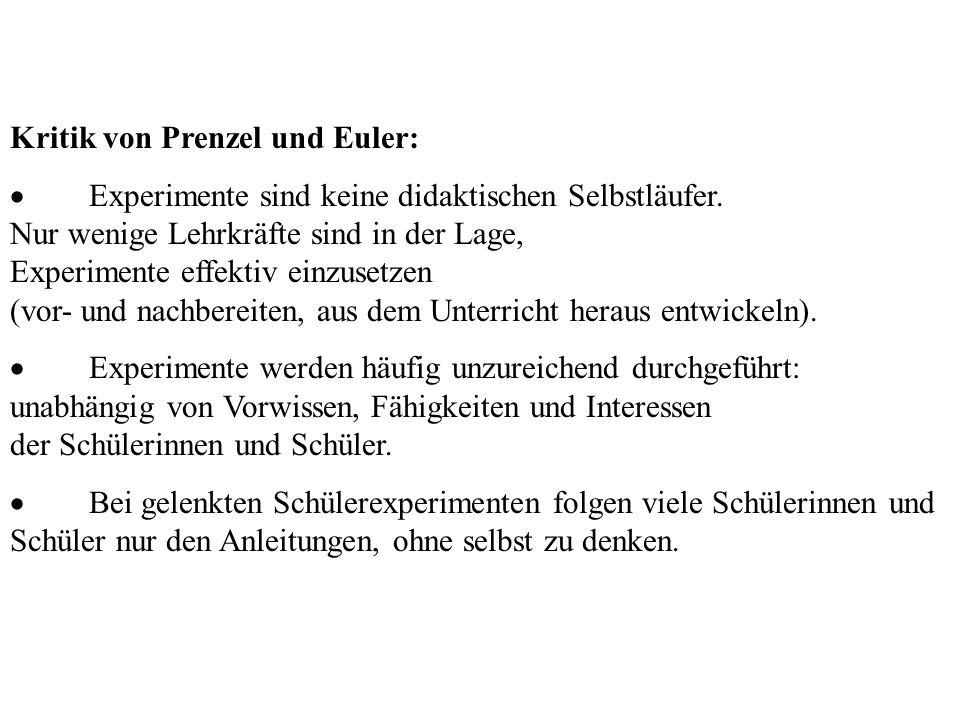 Kritik von Prenzel Kritik von Prenzel und Euler: