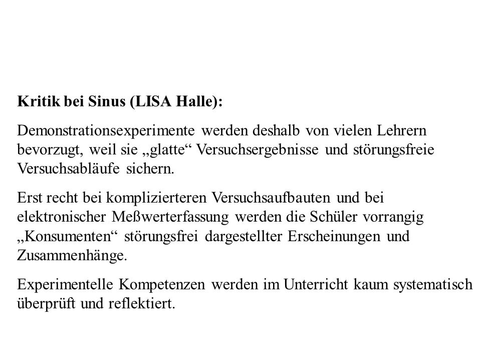 Kritik bei Sinus Kritik bei Sinus (LISA Halle):