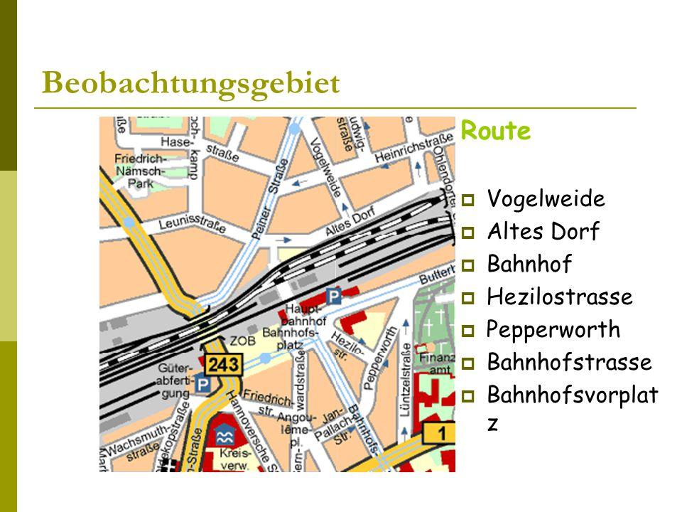 Beobachtungsgebiet Route Vogelweide Altes Dorf Bahnhof Hezilostrasse