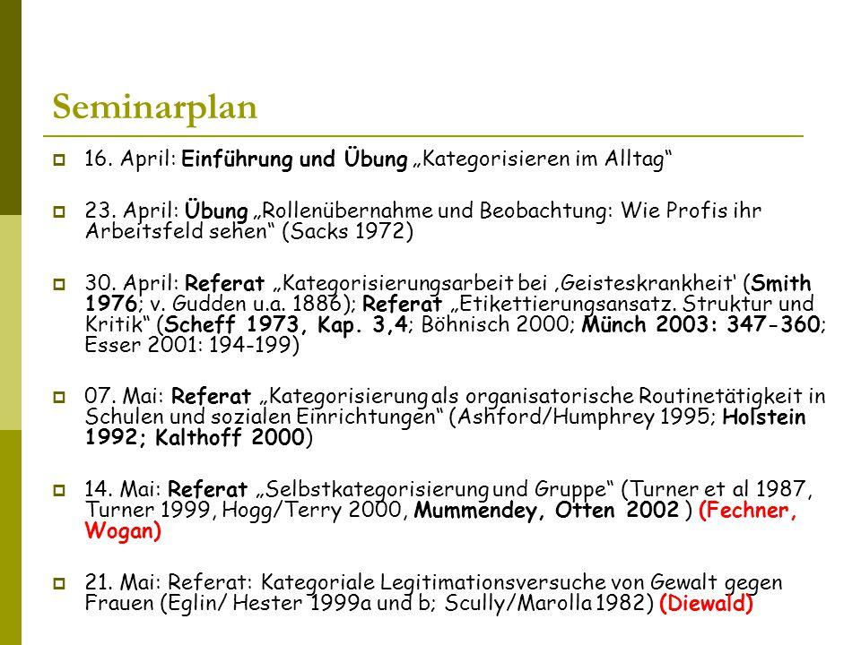 """Seminarplan 16. April: Einführung und Übung """"Kategorisieren im Alltag"""