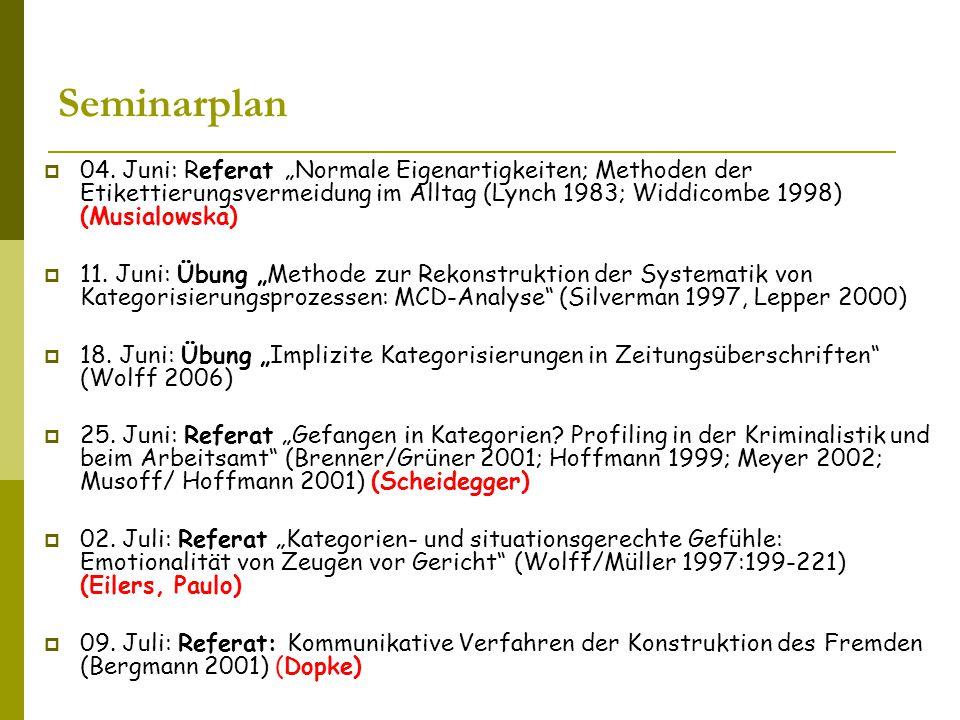 """Seminarplan 04. Juni: Referat """"Normale Eigenartigkeiten; Methoden der Etikettierungsvermeidung im Alltag (Lynch 1983; Widdicombe 1998) (Musialowska)"""