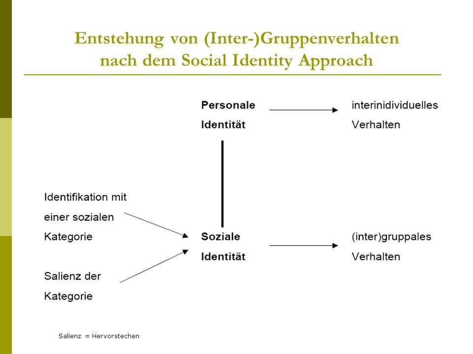 Entstehung von (Inter-)Gruppenverhalten nach dem Social Identity Approach