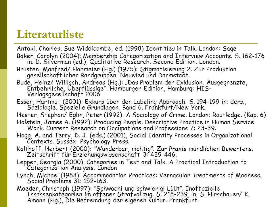 Literaturliste Antaki, Charles, Sue Widdicombe, ed. (1998) Identities in Talk. London: Sage.