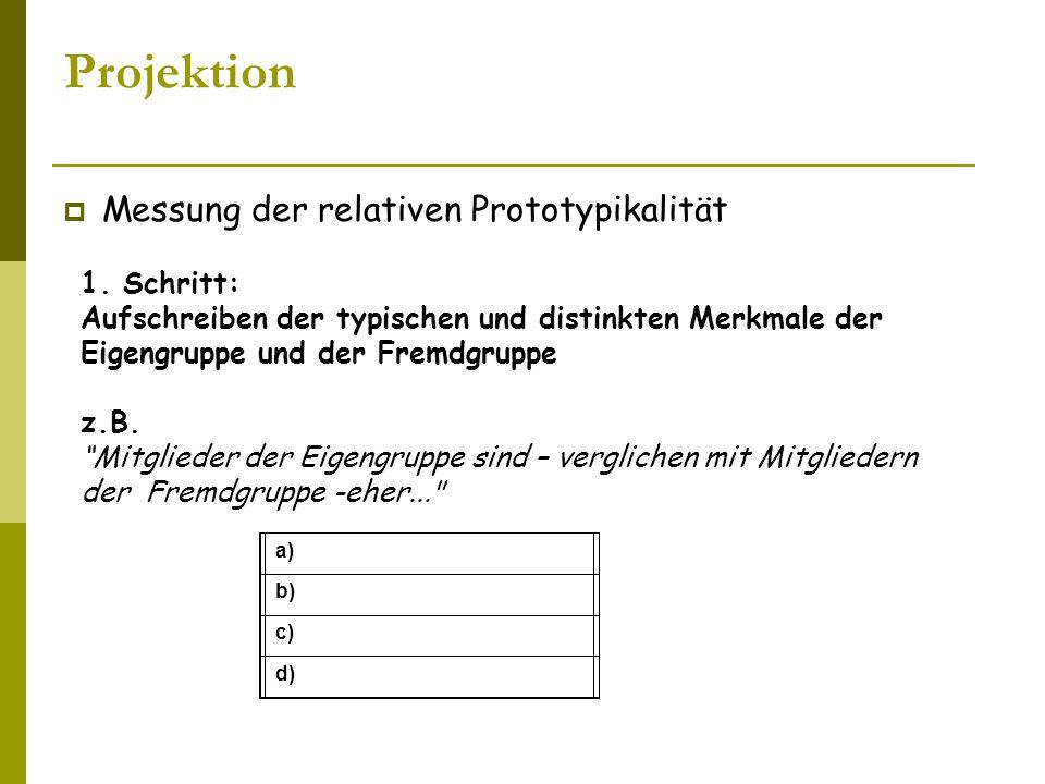Projektion Messung der relativen Prototypikalität 1. Schritt: