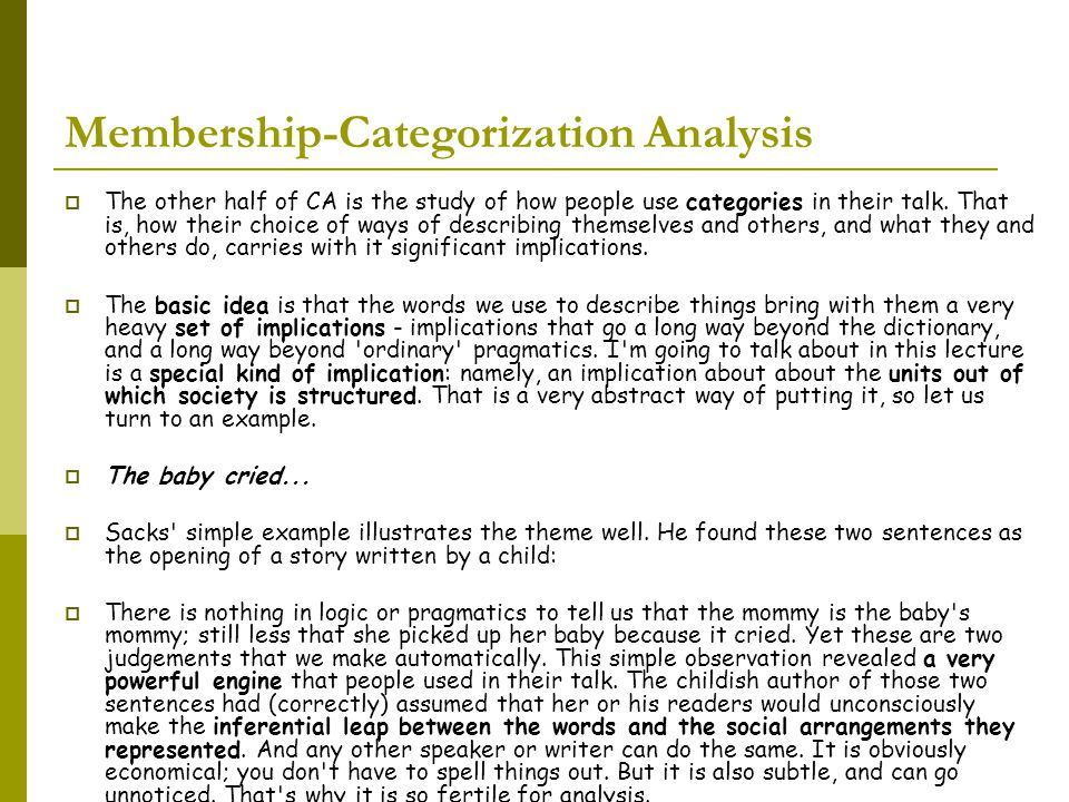Membership-Categorization Analysis