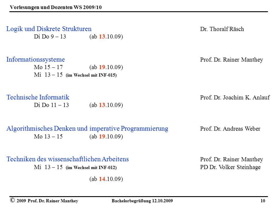 Vorlesungen und Dozenten WS 2009/10
