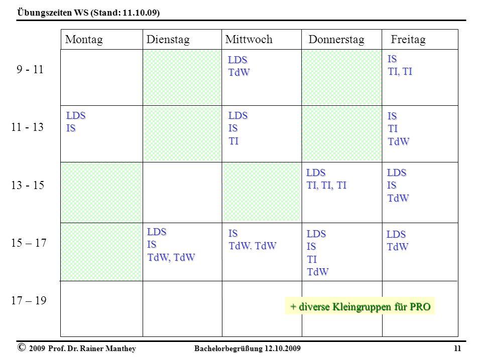 Übungszeiten WS (Stand: 11.10.09)