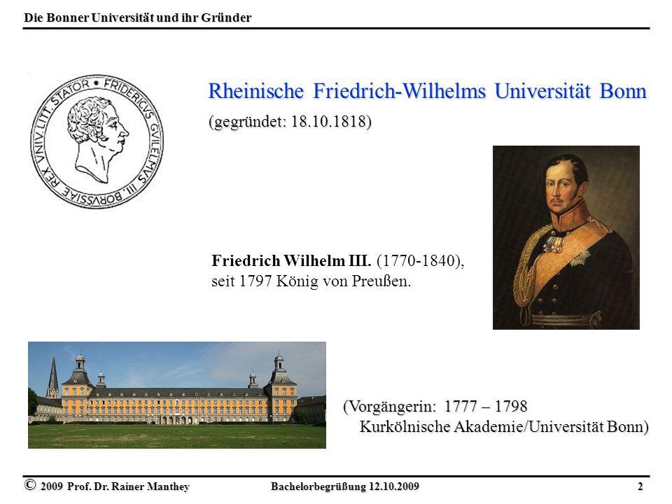 Die Bonner Universität und ihr Gründer