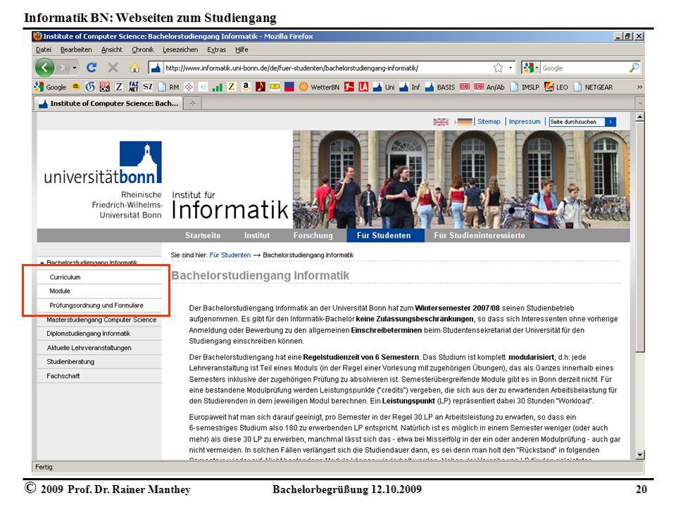 Informatik BN: Webseiten zum Studiengang