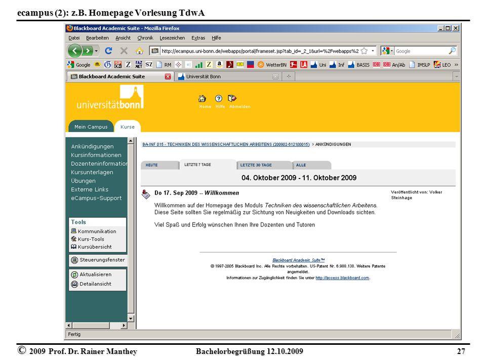 ecampus (2): z.B. Homepage Vorlesung TdwA