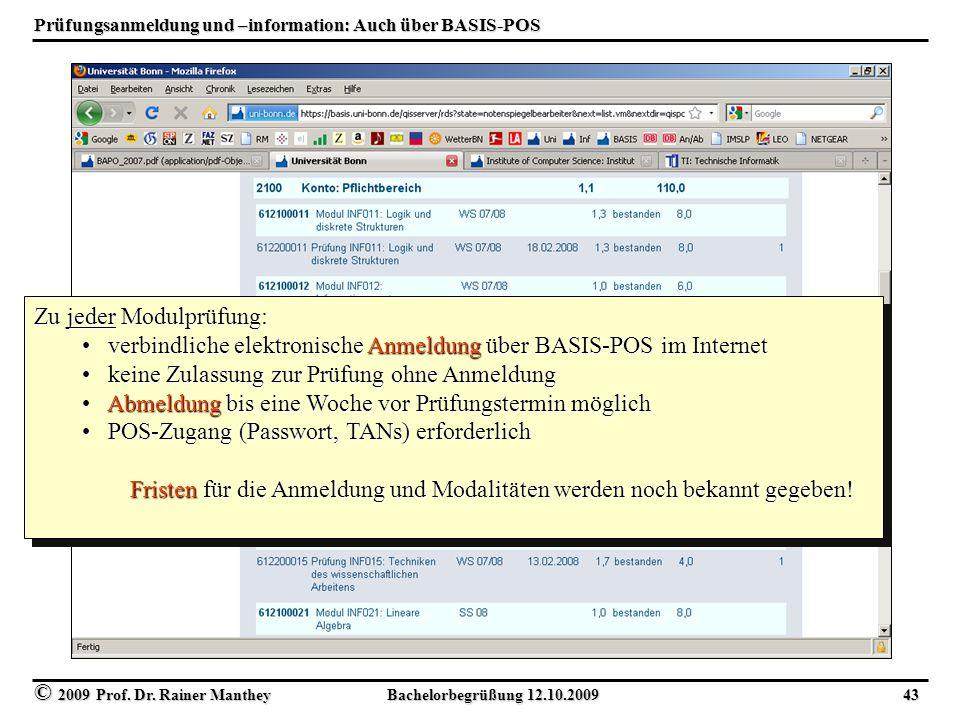 Prüfungsanmeldung und –information: Auch über BASIS-POS