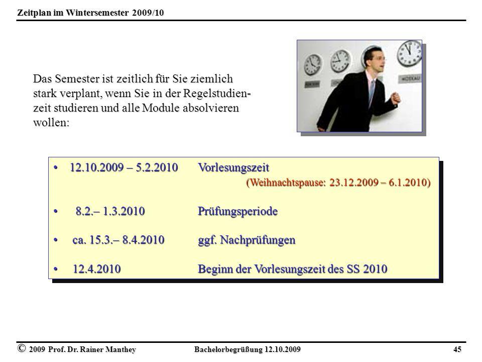 Zeitplan im Wintersemester 2009/10