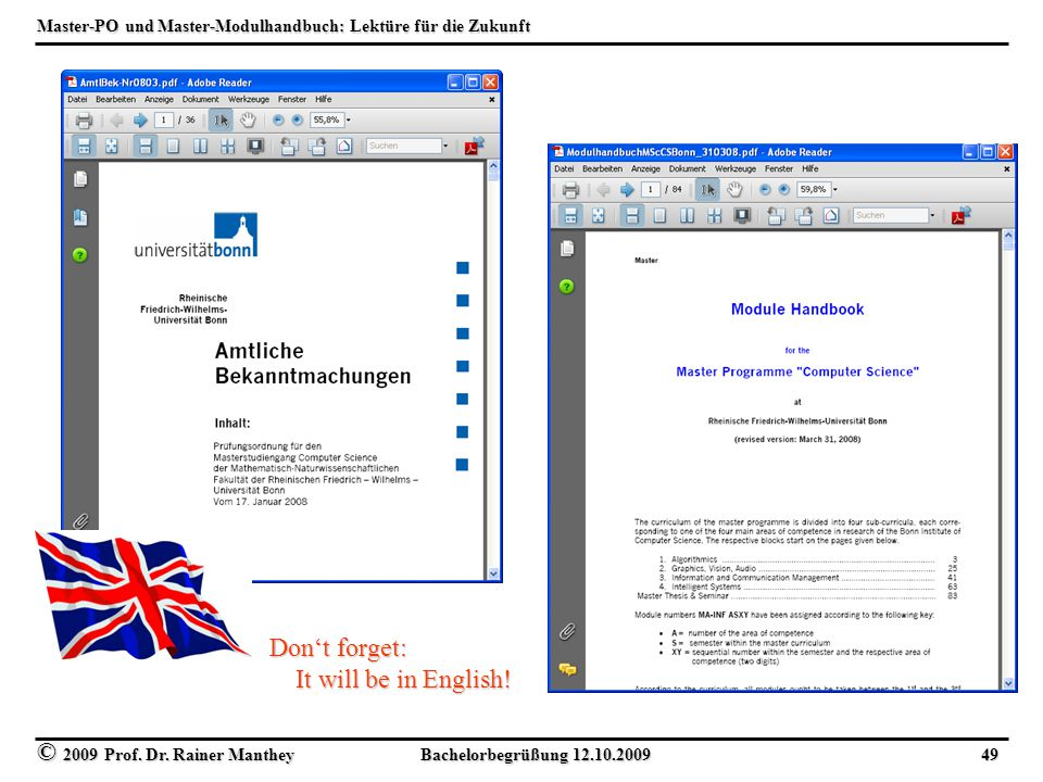 Master-PO und Master-Modulhandbuch: Lektüre für die Zukunft