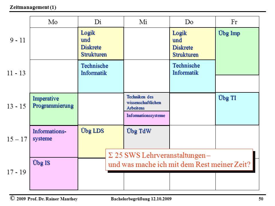 25 SWS Lehrveranstaltungen –