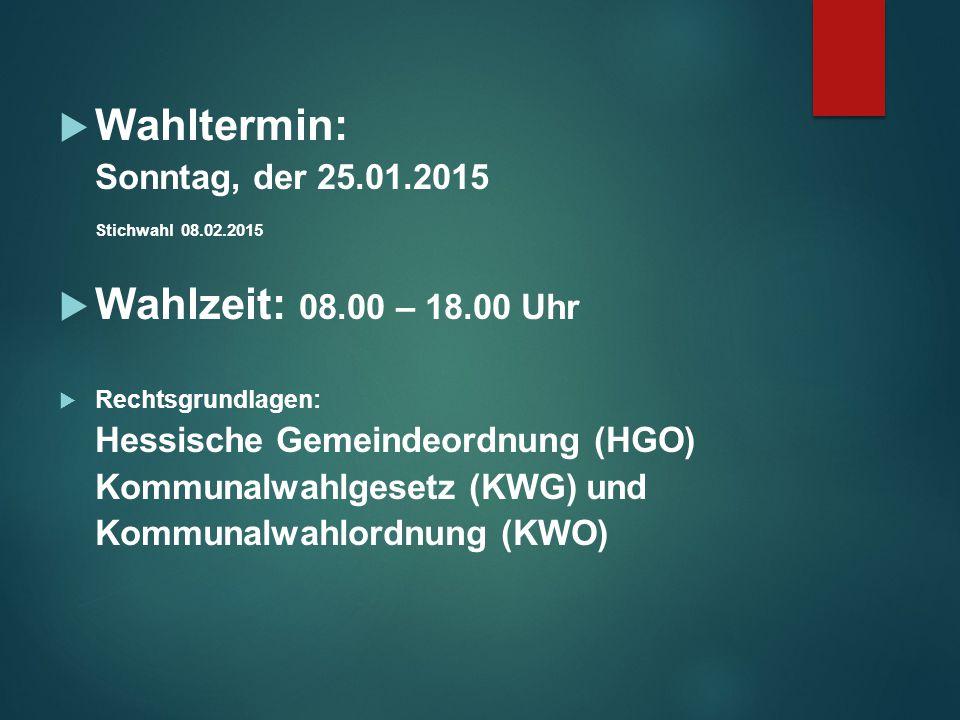 Wahltermin: Wahlzeit: 08.00 – 18.00 Uhr Sonntag, der 25.01.2015
