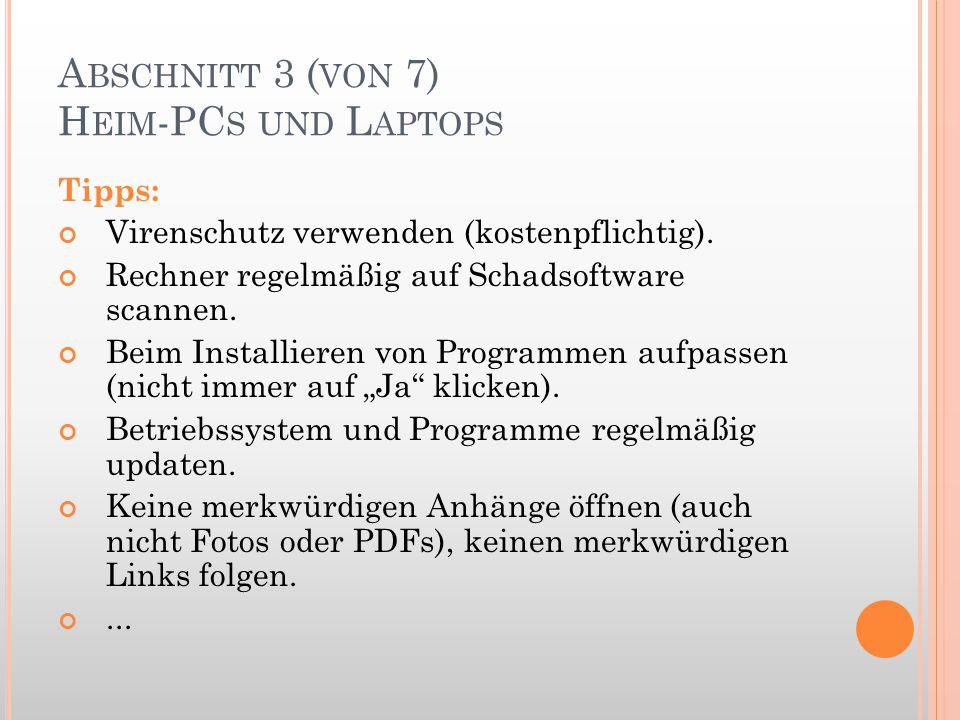 Abschnitt 3 (von 7) Heim-PCs und Laptops