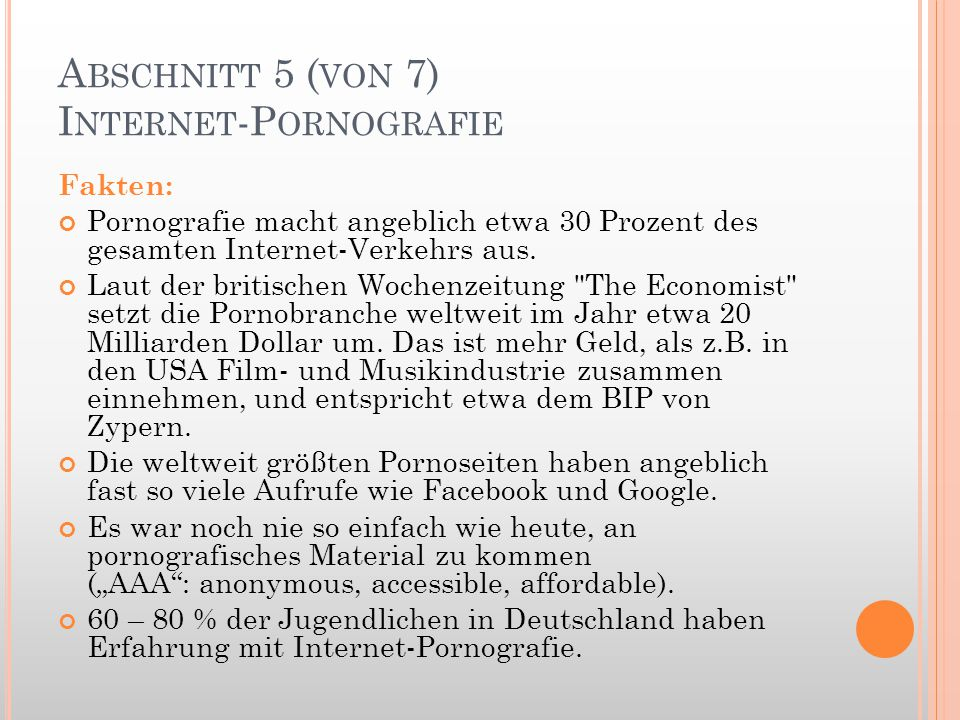 Abschnitt 5 (von 7) Internet-Pornografie