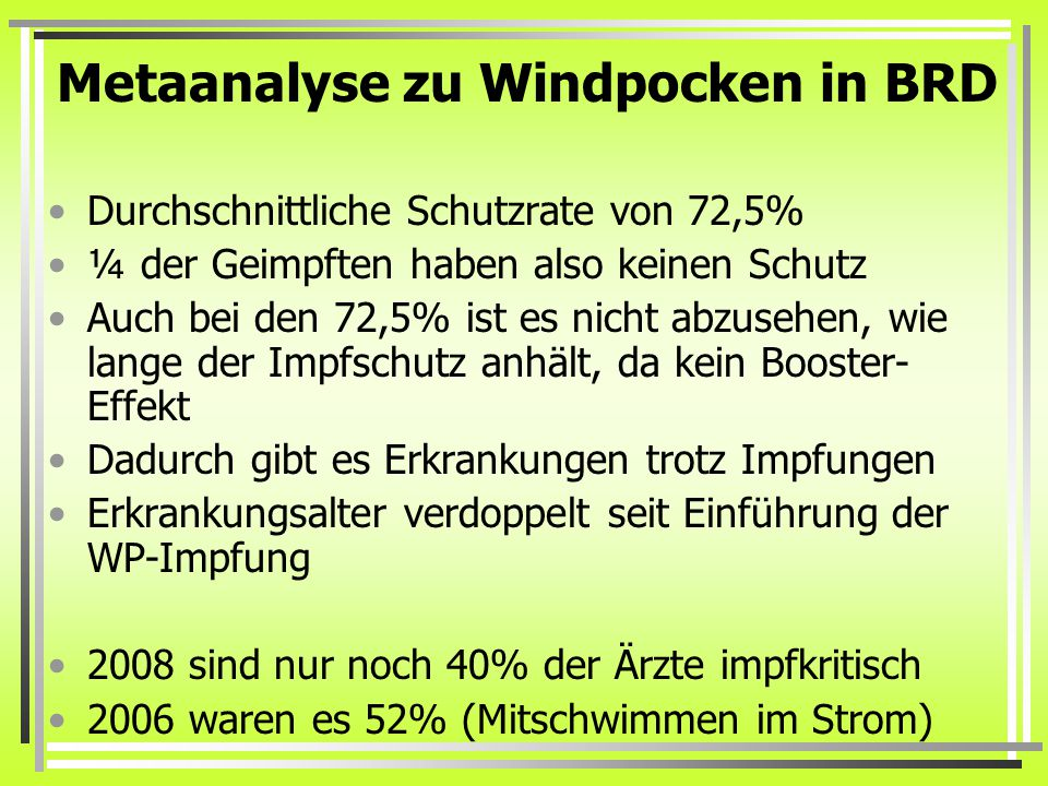 Metaanalyse zu Windpocken in BRD
