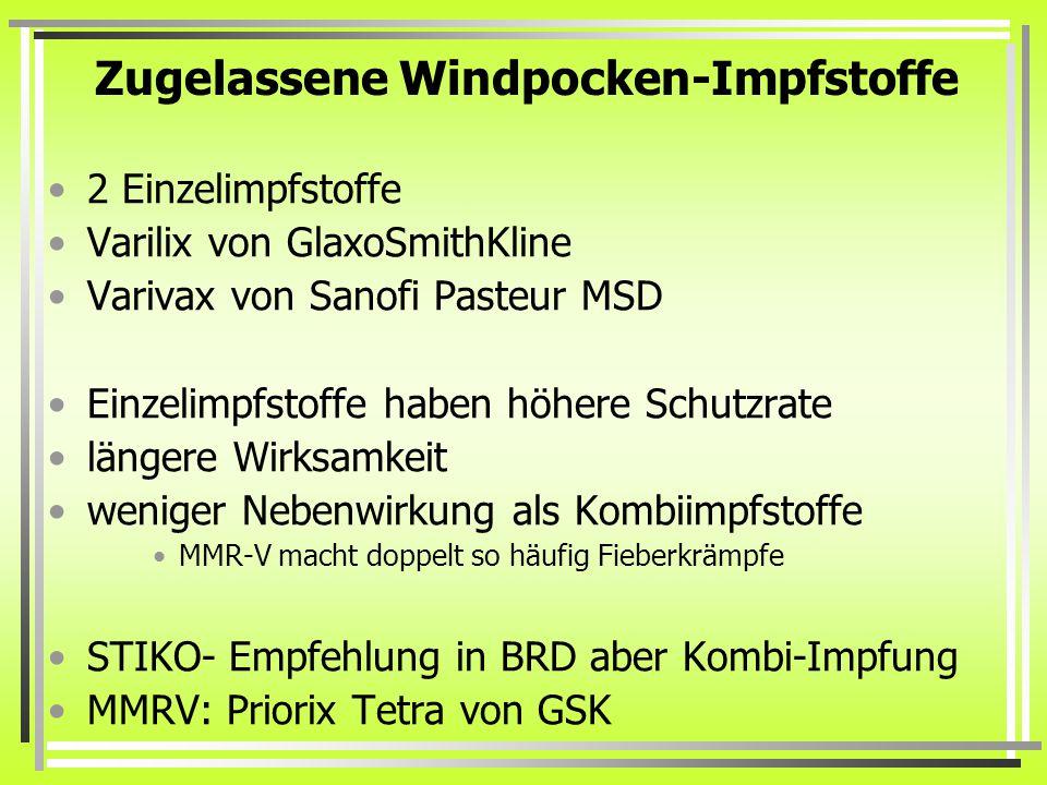 Zugelassene Windpocken-Impfstoffe