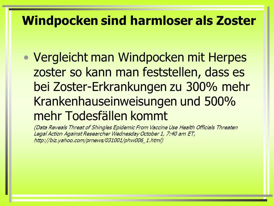 Windpocken sind harmloser als Zoster