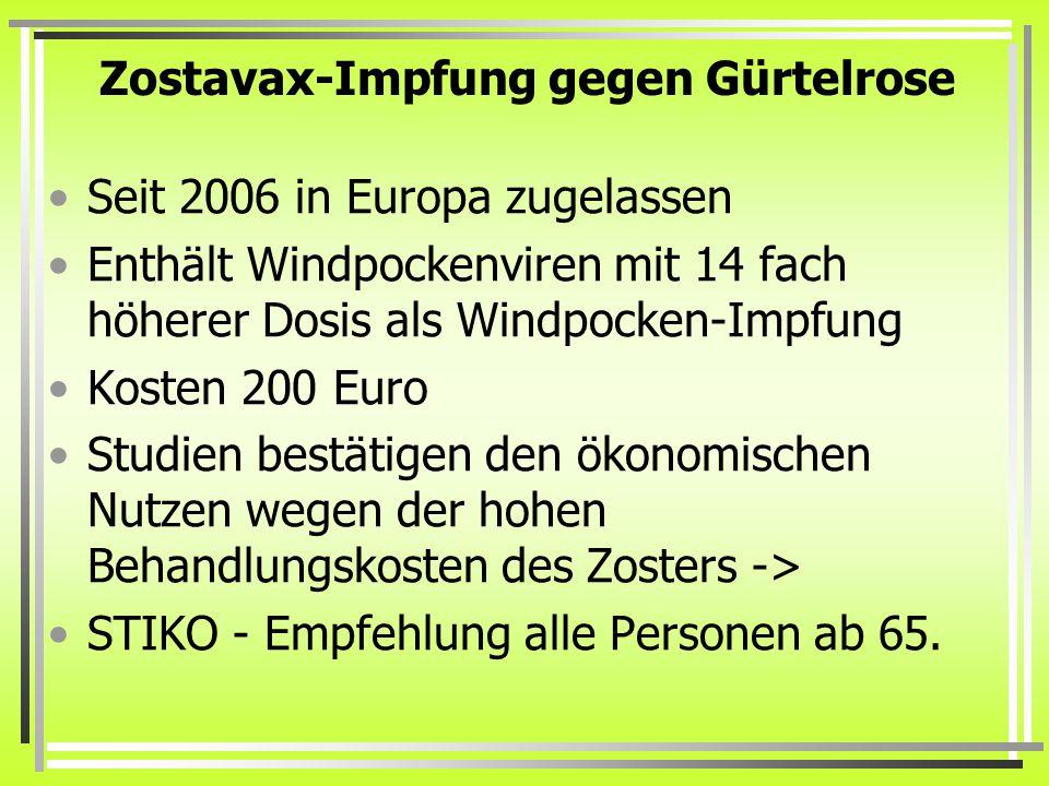 Zostavax-Impfung gegen Gürtelrose