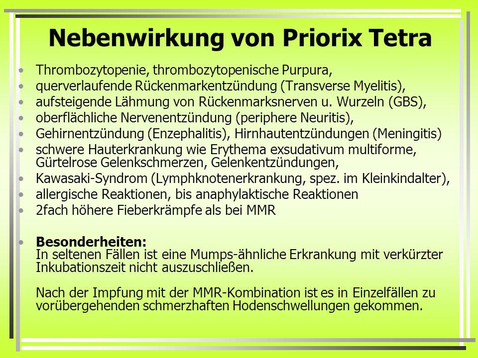 Nebenwirkung von Priorix Tetra